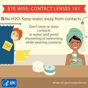 Water should not be used on contact lenses