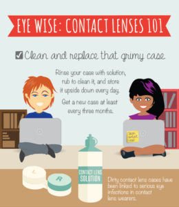 Replace your contacts lens case regularly.