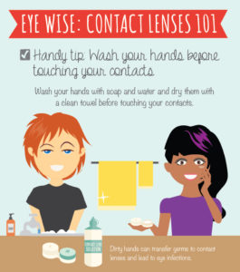 Wash your hands before touching contact lenses.
